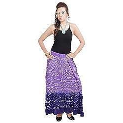 Prateek Retail Bandhej Exclusive Purple Cotton Skirt