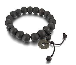 2PCS 11mm Wood Bracelet Link Wrist Tibetan Buddhist Beads Prayer Mala Amulet Coin Set Elastic by INBLUE Jewelry