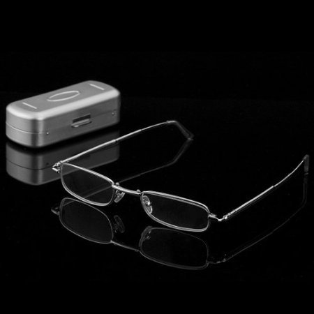 Thg Portable Handy Lightweight Stainless Steel Frame Eyewear Slim Foldable Folding Reading Glasses +1.50 Office Educational Reader Hard Case front-716032