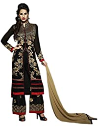 Aryan Fashion LATEST EMBROIDERED Designer BLACK AND CREAM STRAIGHT SUITS