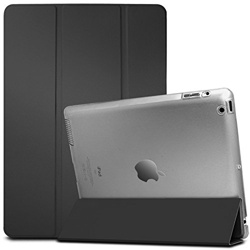 Infiland iPad 2/3/4 Case-iPad 2/3/4 Ultra Slim Translucent Frosted Back Leather Magnetic Smart Case Cover for Apple iPad 2,Apple iPad 3,Apple iPad 4(with Auto Wake/Sleep Function),Transparent Black
