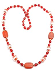 Laron Handicrafts Fancy Red Beaded Long Necklace For Women