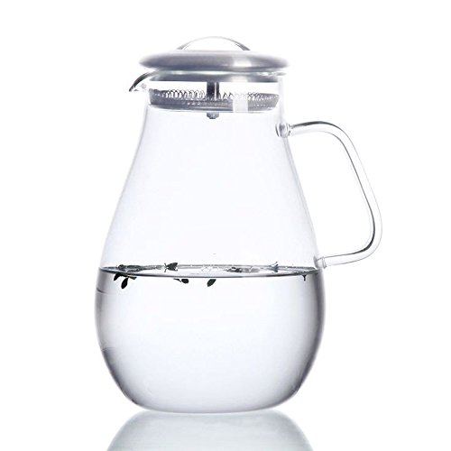 Hiware Glass Pitcher with Stainless Steel Lid, 64 Oz Water Carafe with Handle, Good Beverage Pitcher (Tea Pitcher With Lid compare prices)