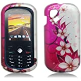 Hot Pink/ White Flower & Butterfly 2D Faceplate Hard Plastic Protector Snap-On Cover Case For Alcatel Sparq OT-606A