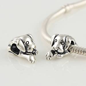 Cute Dog 925 Sterling Silver Bead/charm for Pandora, Biagi, Chamilia, Troll and More Bracelets