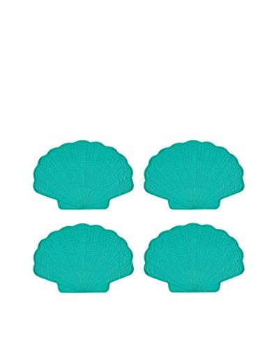 Set of 4 Quilted Shell Placemats, Seafoam