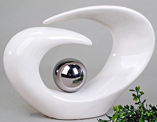 Wunderschöne Skulptur weiß silber aus Keramik Höhe 29 cm Formano thumbnail
