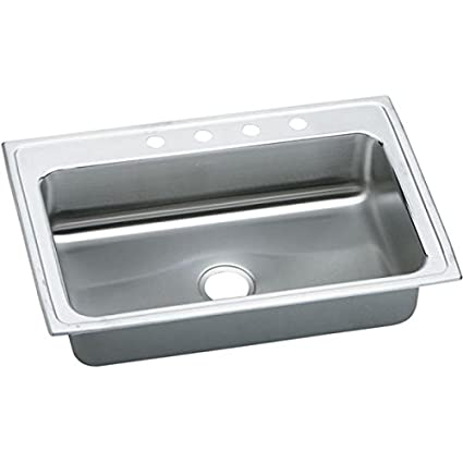Elkao|#Elkay LRSQ33222 Elkay 18 Gauge Stainless Steel 33 Inch x 22 Inch x 7.625 Inch single Bowl Top Mount Quick-Clip Kitchen Sink, 2 Faucet Holes,