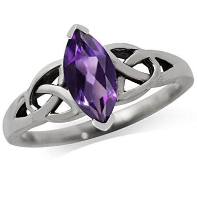 Natural Amethyst 925 Sterling Silver Triquetra Celtic Knot Promise Ring