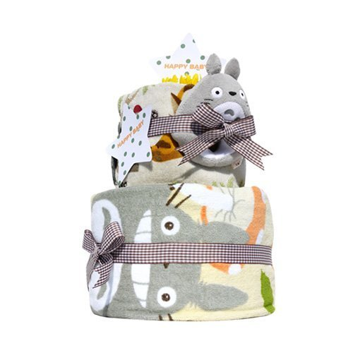 Totoro diaper cake and enjoy big Totoro 2-stage コナラミニ towels name into embroidery for pampers size M (Acorn face towel)