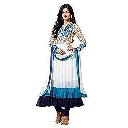 Parabdhani Fashion Women's Georgette Semi Stitched Suit (PBF_DM_90_White_Free Size)