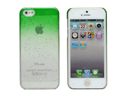 Cases Kingdom Hot Sale Clear Waterdrop Raindrop Hard Case Compatible With Apple Iphone 5 Green front-573947