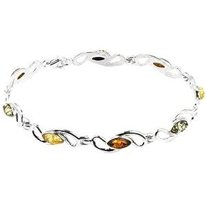 Amber by Graciana - 40524 - Bracelet Femme - Marquise - Argent 925/1000 - Ambre Multicolore - 20cm