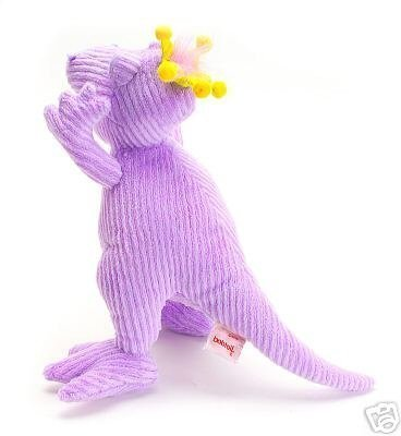 "Bobtail 11"" Tall ROXY Adorable Soft Cuddly Little Plush Animal Dinosaur, Made with Ribbed Purple Chenille Fabric."