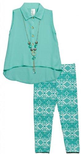 Just Kids Big Girls' Chiffon Blouse Aztec Print Pants Necklace Set 4 Jade front-518446