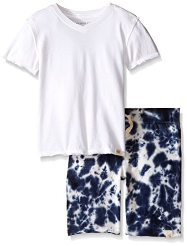 Burt's Bees Little Boys Organic Reverse Seam V-Neck Tee and Tie Dye Short Set, Cloud, 7