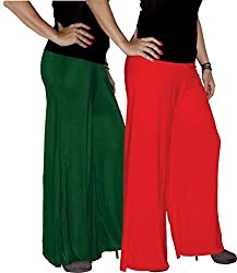 Xarans Sharara Stylish Looking Dark Green & Red Palazzo