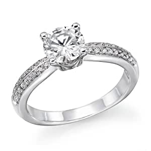 3/4 ctw. Round Diamond Solitaire Engagement Ring in 18k White Gold