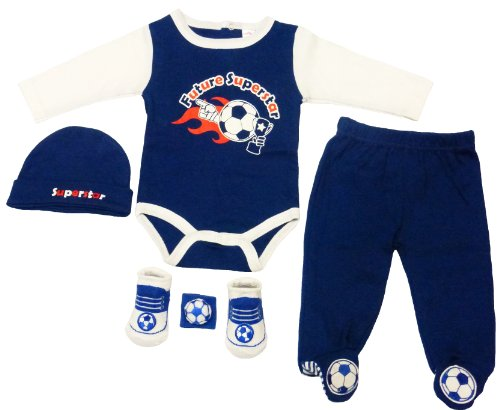 Soft Touch Infant Boy Clothes Set With Soccer Theme. 3-6 Months. Navy & White. front-220103