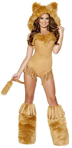 [Vicious Lioness Hooded Romper and Legwarmers Medium] (Woman Lioness Costume)