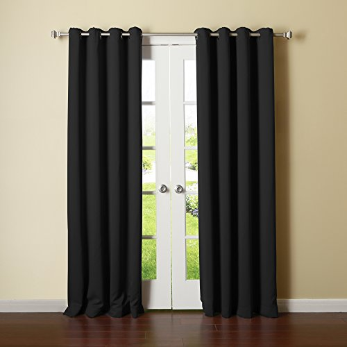 Solid Grommet Top Thermal Insulated Blackout Curtain 52 X 95 Length 1 Pair Black Gt Curtain