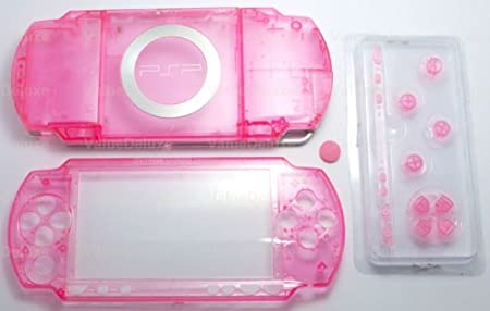 Clear Pink- Sony PSP 1000 Full Housing Shell Cover Replacement with Button Set