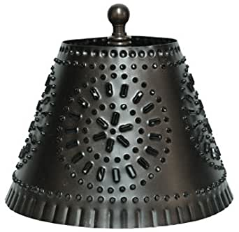 Punched Tin Mini Lampshade Antiqued Black Finish Country