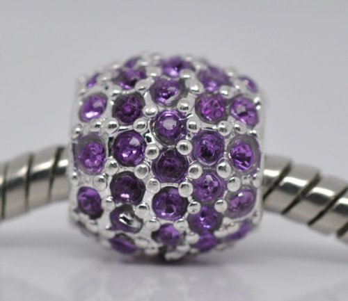 Silver Plated Purple Dense Rhinestone Spacer