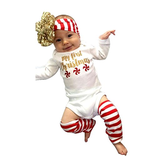 Rompers Socks Headband Newborn Christmas Baby Girls Clothes Set - 2016 SUPPION (12M)