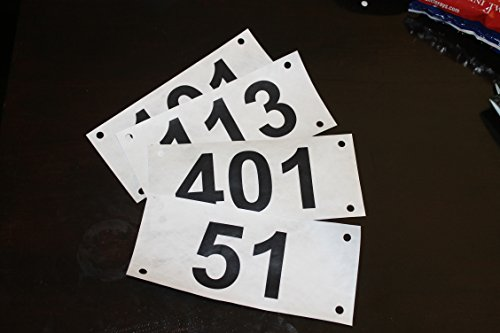 Race official competitor economy numbers basic tyvek bib numbers - set of 100, any series up to 1000 - industry standard tyvek tear proof and water proof (Contestant Numbers compare prices)