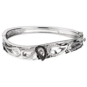 IceCarats Designer Jewelry Sterling Silver 14K White Gold Black And White Diamond Bangle Bracelet