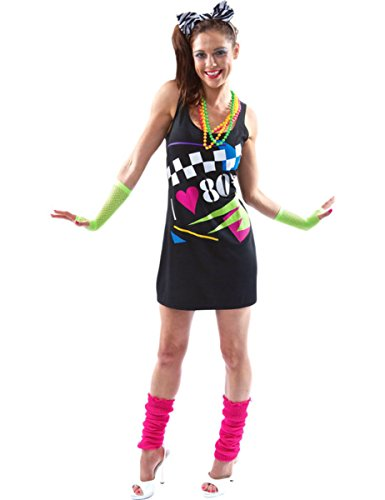 I Love the 80s Dress Rewind Festival 1980s Fancy Dress Eighties Ladies Outfit - 4 Sizes from S to XL
