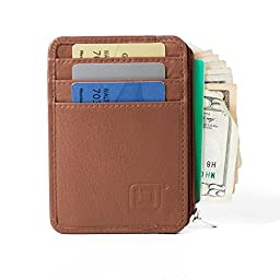 RFID Blocking Secure Mini Wallet - Tan