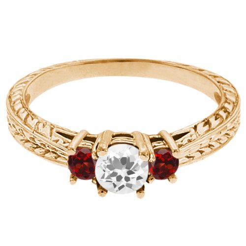 0.57 Ct Round White Topaz Red Garnet 18K Yellow Gold 3-Stone Ring