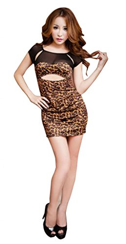 Leopard Print Elegant Mini Dress Slim Bodycon Party Club Suits Sexy Nightwear