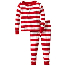 Hatley Little Girls  Pajama Set-Candy Cane Stripes Red/White 2T