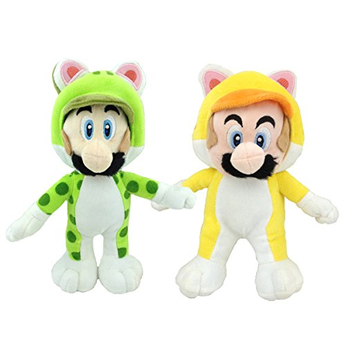 One Set of 2 Super Mario 3D World Plush Toys Cat Mario Luigi Stuffed Animal Soft Figure with a Free Super Mario Badge as Gift 9""