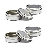 Empty Slip Slide Round Tin Containers for Lip Balm, Crafts, Cosmetic, Candles, Storage Kit by MagnaKoys 1/2 Oz (5)