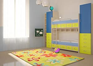toller kinderzimmerteppich design granada in bunten farben gr e 160 x 230 cm farbe gr n. Black Bedroom Furniture Sets. Home Design Ideas