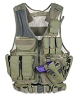 GMG-Global Military Gear GM-TV1 OD Olive Drab Green Tactical Scenario Military-Hunting Assault Vest w/ Right Handed Quick Draw Pistol Holster and Heavy Duty Mag Pouch Belt