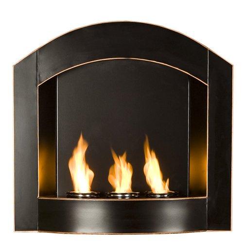 Sei Black Arch Top Wall Mount Gel Fuel Fireplace Home Decor