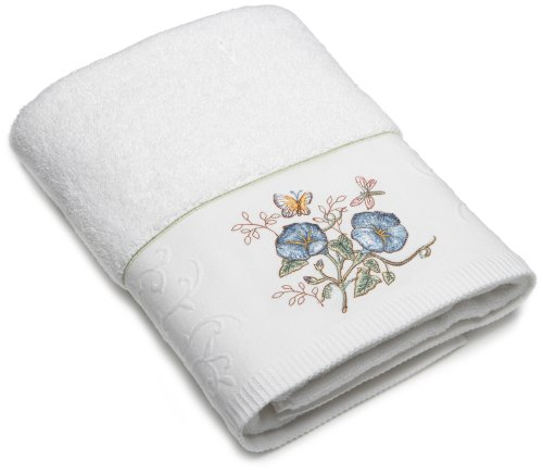 Lenox butterfly meadow embroidered hand towel blue flower for Bathroom hand towels