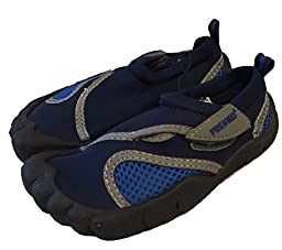 Little Kids Toddler Aquatic Water Shoes with Velcro Closure (7 M US Toddler, Navy Blue)