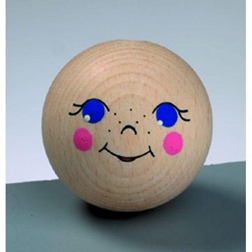 Holz-Puppenkopf - Holzfiguren Kopf 50mm mit Bohrung, 1 Stück - Basteln mit Holz