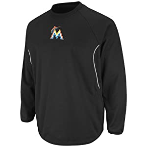 MLB Miami Marlins Featherweight Tech Fleece, Pro Black Pro White by Majestic