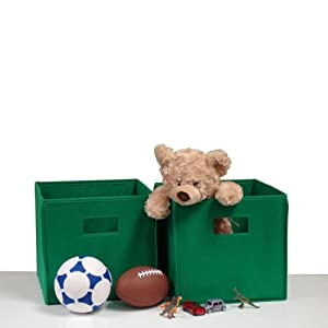 "RiverRidge Kids Two Piece Folding Storage Bin Set - Green (Green) (10""H x 10.5""W x 10.5""D) from SOURCING SOLUTIONS INC."