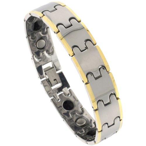 Sabrina Silver Tungsten 2-Tone (Gun Metal & Gold) Bar Link Magnetic Bracelet, 1/2 in. (12.5mm) wide (BTN160)
