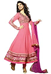 Fabdeal Festive Pink Plain/Solid/Dye/Tie Dye Viscose Georgette Semi-Stitched Salwar(ESL2DR66TPDT_Pink)