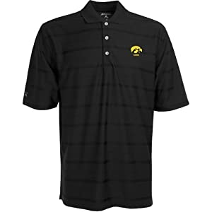 Iowa Hawkeyes Polo - NCAA Antigua Mens Tone Black by Antigua