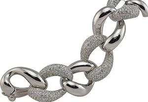 14k White Gold Diamond Bracelet .